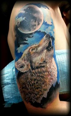 Moon Howling Wolf Tattoo - Best Wolf Tattoos For Men: Cool Wolf Tattoo Designs and Ideas For Guys - Howling, Snarling, Angry, Alpha, Wolf Pack Wolf Paw Tattoos, Howling Wolf Tattoo, Tribal Wolf Tattoo, Wolf Howling, Head Tattoos, Animal Tattoos, Body Art Tattoos, Cool Tattoos, Tattoo Wolf