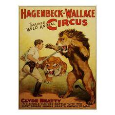 circus cannon ball poster | Vintage Circus Poster, Lion Tamer
