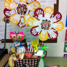 Great End of the year teacher gift...filled with gift cards, summer snack and lotions! I love the flowers made from the kids handprints and their pictures!!