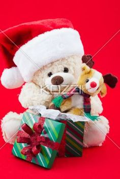 cute christmas toys - Cute Christmas toys on a red background.