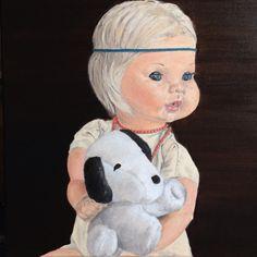 "Marinella col cagnolino (free from Leonardo's ""La dama con l'ermellino"") - oil on canvas, 30x30cm Cinderella, Disney Characters, Fictional Characters, Teddy Bear, Paintings, Disney Princess, Free, Animals, Animales"