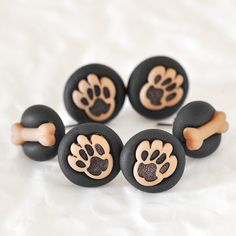 Puppy Paws Pushpins with Mini Bones in Black Polymer by CreaShines, $14.00