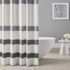 Organic Huntington Stripe Shower Curtain, White – Shower Curtains - All For Light İdeas Striped Shower Curtains, Bathroom Shower Curtains, Bathroom Showers, Boys Shower Curtain, Rental Bathroom, Grey Curtains, Bathroom Renovations, Grey Bathrooms, Small Bathroom