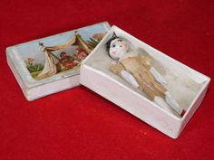 """Miniature Antique Peg Wooden Doll, Well Turned/Carved & Painted, in Box 1 3/4"""" H"""