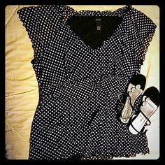 GNW Black with white spots Shortsleeved Top GNW Black with white spots Shortsleeved Top*** Has lettuce leaf detail on sleeve hem and neckline. Also has 2nd short panel at waist for separation and a non-clingy action. Sleeves are sheer mesh material so it would be great for Summer!!***shoes not for sale GNW Tops Blouses