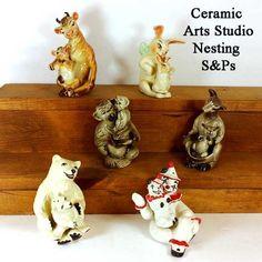 Found on EstateSales.NET: Ceramic Arts Studio Figurines Nesting Salt and Peppers - Cows, Rabbits, Monkey, Kangaroo, Polar Bears and Clown