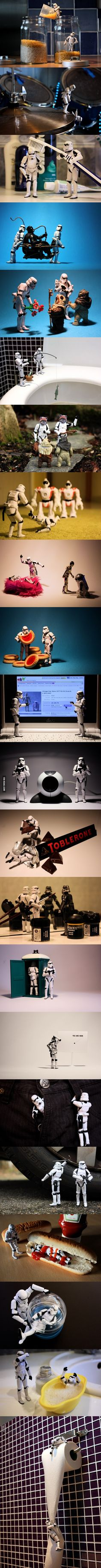 A day in the life of stormtrooper. I love these.  Way better than elf on a shelf.