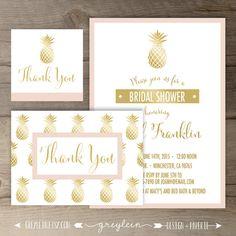 823020e33a4 Gold Pineapple Bridal Shower Invitations • Black White Gold Pink • DIY  Printable