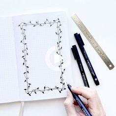 DIY Three Beautiful Borders With A Rectangle #bulletjournal Notebook Drawing, Notebook Doodles, Dot Grid Notebook, Bullet Journal Notebook, Bullet Journal Ideas Pages, Bullet Journal Layout, Bullet Journal Inspiration, Bullet Journal Frames, Notebook Quotes