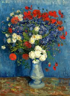 Vincent van Gogh - 1887 Vase with Cornflower and Poppies