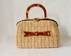Vintage Straw Purse | Vintage Lucite Straw Handbag 1960s Beige and Brown Purse
