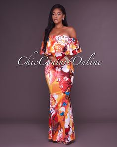 Chic Couture Online - Mangoh Tangerine Multi-Color Off-The-Shoulder Maxi Dress, (http://www.chiccoutureonline.com/mangoh-tangerine-multi-color-off-the-shoulder-maxi-dress/)