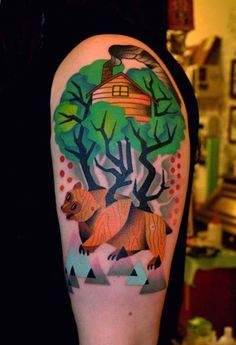 Geometric bear tattoo. Someone please please tell me the name of the artist! I remember it was done by a guy in Europe, possibly Denmark or Holland.