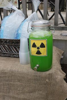 Toxic Drink station. Doesn't get any easier than this. A green drink with a vinyl hazard sign. I have the vinyl, the cutter, and mix is easy. Just need a dispenser.