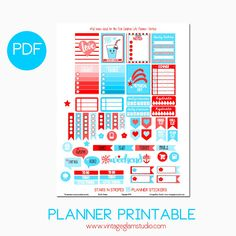 Star N Stripes Planner Stickers | Free planner printable, for personal use only