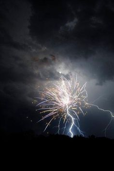 Lightning strikes fireworks