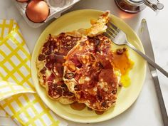 Get Bacon-Egg-And-Cheese-Stuffed Pancakes Recipe from Food Network