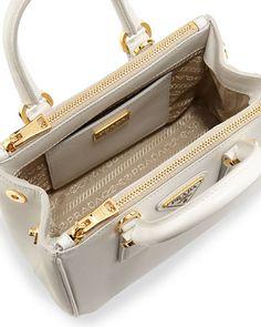 Inside Prada Saffiano Mini Galleria crossbody bag.