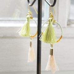 Fun #summer creole earrings with #tassels in soft #pastel colours.