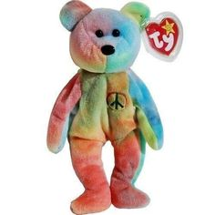 Ty Beanie Babies Peace Bear Original Collectible Stuffed Toy Gift Authentic New #Ty