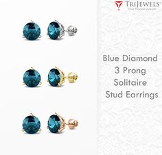 Special offer on the beautiful blue studs perfect for any occasion. - Extra 10% OFF Retail #blue #diamond #stud #earrings #diamond #finejewelry #jewelryforwomen #giftforher #love #gift #trijewels
