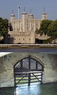 Tower of London and Traitor's Gate, the Gate was the entry from the River Thames and led to The Tower where prisoners would be kept.