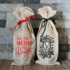 Create your own customized wine gift bags for the holidays using heat transfer vinyl and simple cloth bags.
