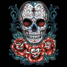 Day of the Dead Sugar Skull With Roses UNISEX ADULT T Shirt 17045