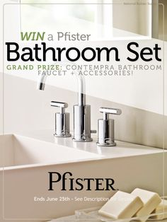 Enter for the chance to win a Pfister bathroom faucet and accessories set! Giveaway ends June 25. Good luck! http://sdqk.me/ki85pEYu