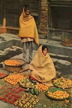 Around 60 years ago in Kathmandu winter, these fruits and vegetables vendors keeping warm with cotton quilts. Photo taken between AD( BS) photo credit:Dr. Nepal, Mount Everest, Market Displays, Vintage Bridal, People Of The World, World Cultures, Cotton Quilts, Beautiful World, National Geographic