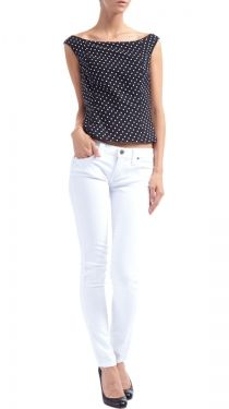 Boat Neck Hepburn's Top, Black/White Dot