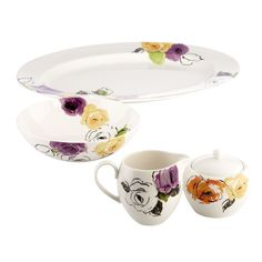 beautiful floral porcelain dishes
