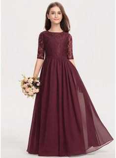 JJsHouse A-Line Scoop Neck Floor-Length Zipper Up Sleeves Sleeves No Cabernet General Plus Chiffon Lace Junior Bridesmaid Dress. Stylish Dresses For Girls, Frocks For Girls, Little Girl Dresses, Flower Girl Dresses, Flower Girls, Girls Bridesmaid Dresses, Girls Dresses, Wedding Dresses, The Dress