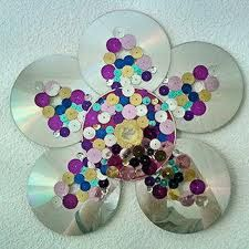 CD/DVD Flower Power:  Have any CD or DVD's you need to recycle? This make a beautiful wall hanging. Just add glitter and sequins.
