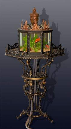 "A rare 1890's Victorian conservatory/parlor aquarium. This aquarium would have sit in the parlor or conservatory (greenhouse) of a wealthy industrialist of the time period as aquariums of this type were expensive even back 120+ years ago. This beautiful aquarium is made of cast iron from the ""plant shelf"" down.The iron base has a beautiful swirl pattern with ""faces in headdress"" on each leg."