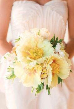 Brides.com: 19 Fresh Peony Bouquet Ideas. Charleston Stems, a South Carolina florist, dreamed up this yellow bouquet using giant tree peonies — an unusual but totally gorgeous pick for a wedding bouquet.