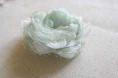 Wedding Hair Flower, Chiffon Flower Hair Clip, Bridal Hairpiece Feathers Chiffon Bridesmaids Pistachio Green Rustic Succulent Fascinator by BelleBlooms on Etsy https://www.etsy.com/listing/214925729/wedding-hair-flower-chiffon-flower-hair