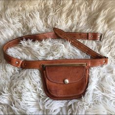Vintage leather belt bag Really cute vintage leather belt bag originally bought on etsy. Never used. Because it's vintage, leather does have water mark, but really it adds character. Bags Clutches & Wristlets