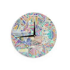"Vasare Nar ""Abstract Geometric Playground"" Multicolor,Pastel Wall Clock"