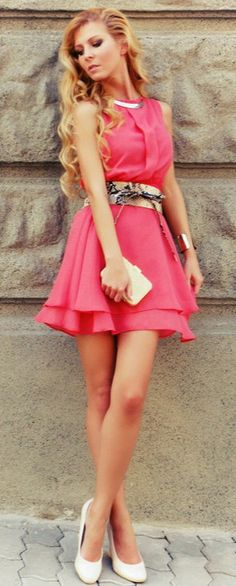 Flirty pink dress with a reptile belt <3 http://www.studentrate.com/fashion/fashion.aspx