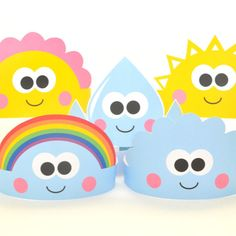 "Love these free printable birthday crown ""elements of nature"" set from ShapaLala featuring rainbows, clouds, suns and more."