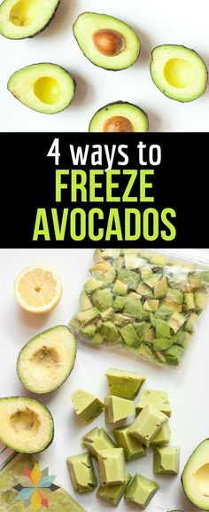 Never ask again how to freeze avocados! These four easy ways to freeze avocados from Whole New Mom will make storing avocados and keeping avocados fresh longer so much easier! Healthy Snacks, Healthy Eating, Healthy Recipes, Vegetarian Recipes To Freeze, Healthy Cooking, Vegetable Recipes, Real Food Recipes, Cooking Recipes, Cooking Tips