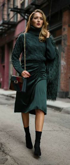 Jewel Tones // Cable-knit emerald green sweater, ruched satin emerald green midi skirt, faux fur jacket, black sock boots, multi jewel-toned handbag {Theory, MM6 Maison Margiela, Anthropologie, Tory Burch, Stuart Weitzman, classic style, classy dressing, fall trends, fashion blogger, wear to work, jewel tones}