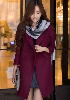 Wine Red Plain Tailored Collar Wool Coat