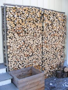 How to make simple and cheap firewood racks. How to make firewood storage with sticks from the fores Cheap Firewood, Outdoor Firewood Rack, Firewood Storage, Storage Racks, Diy Storage, Kitchen Storage, Wooden Storage Sheds, Lumber Rack, Seasoned Wood