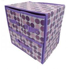 Κουτί αποθήκευσης με 3 συρτάρια μώβ