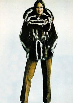 Vogue September 1971, Anne KLein wearing skunk jacket and suede Gucci pants