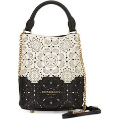 Burberry Small Laser-Cut Bucket Bag ($1,995) ❤ liked on Polyvore featuring bags, handbags, shoulder bags, borse, off white, chain handbags, chain shoulder bag, laser-cut handbags, burberry and champagne purse