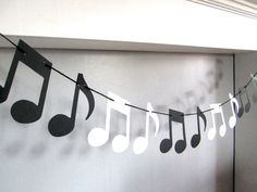 Music Note Garland, Music Recital, Music Teacher Gift, Music Theme Party, Black and White Musical No Music Theme Birthday, Music Themed Parties, Music Party, Vintage Maps, Antique Maps, Name Tent, Music Teacher Gifts, Music Teachers, Disco Party