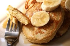 Banana sour cream pancakes, adapted from Ina Garden's recipe. Like the best banana bread ever!
